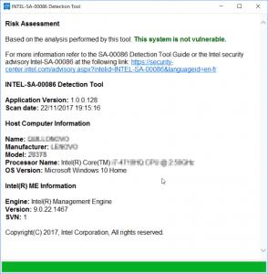 Esempio verifica con tool intel per la vulnerabilità firmware SA-00086