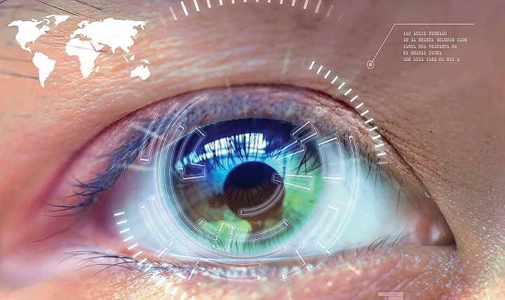 Close up women eye scanning technology in the futuristic, operation, eye cataract. U.S. Army photo illustration