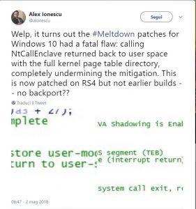Ionescu Twitter Spectre Meltdown da BeLabs.it