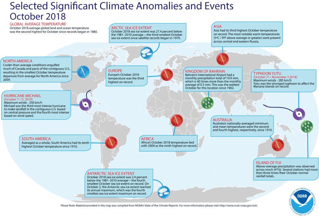 Mappa degli eventi climatici più significativi di Ottobre 2018 - da BeLabs.it