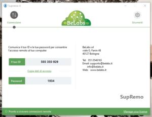 BeLabs SupRemo Assistenza Remota personalizzata